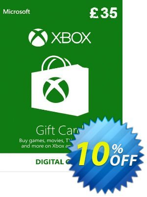 Microsoft Gift Card - £35 (Xbox One/360) Coupon discount Microsoft Gift Card - £35 (Xbox One/360) Deal. Promotion: Microsoft Gift Card - £35 (Xbox One/360) Exclusive Easter Sale offer for iVoicesoft