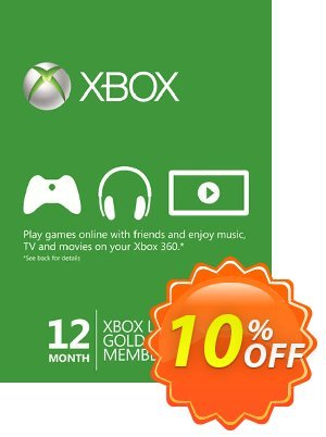 12 + 1 Month Xbox Live Gold Membership (Xbox 360) Coupon, discount 12 + 1 Month Xbox Live Gold Membership (Xbox 360) Deal. Promotion: 12 + 1 Month Xbox Live Gold Membership (Xbox 360) Exclusive Easter Sale offer for iVoicesoft