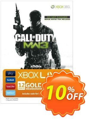 12 + 2 Month Xbox Live Gold Membership - MW3 Branded (Xbox One/360) Coupon, discount 12 + 2 Month Xbox Live Gold Membership - MW3 Branded (Xbox One/360) Deal. Promotion: 12 + 2 Month Xbox Live Gold Membership - MW3 Branded (Xbox One/360) Exclusive Easter Sale offer for iVoicesoft