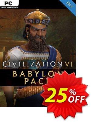 Sid Meier's Civilization VI: Babylon Pack PC - DLC (EU) discount coupon Sid Meier's Civilization VI: Babylon Pack PC - DLC (EU) Deal 2021 CDkeys - Sid Meier's Civilization VI: Babylon Pack PC - DLC (EU) Exclusive Sale offer for iVoicesoft