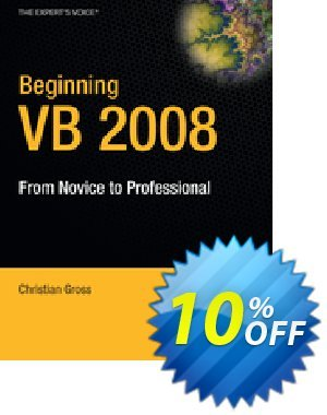 Beginning VB 2008 (Gross) 優惠券,折扣碼 Beginning VB 2008 (Gross) Deal,促銷代碼: Beginning VB 2008 (Gross) Exclusive Easter Sale offer for iVoicesoft
