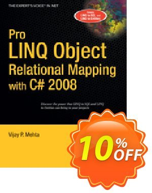 Pro LINQ Object Relational Mapping in C# 2008 (Mehta) 프로모션 코드 Pro LINQ Object Relational Mapping in C# 2008 (Mehta) Deal 프로모션: Pro LINQ Object Relational Mapping in C# 2008 (Mehta) Exclusive Easter Sale offer for iVoicesoft