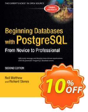 Beginning Databases with PostgreSQL (Stones) discount coupon Beginning Databases with PostgreSQL (Stones) Deal - Beginning Databases with PostgreSQL (Stones) Exclusive Easter Sale offer for iVoicesoft