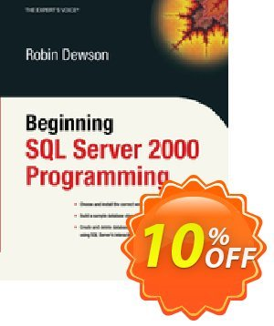 Beginning SQL Server 2000 Programming (Dewson) Coupon discount Beginning SQL Server 2000 Programming (Dewson) Deal. Promotion: Beginning SQL Server 2000 Programming (Dewson) Exclusive Easter Sale offer for iVoicesoft