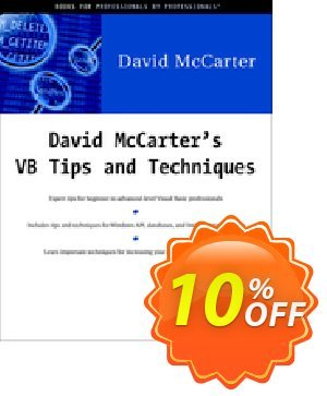 David McCarter's VB Tips and Techniques (McCarter) 프로모션 코드 David McCarter's VB Tips and Techniques (McCarter) Deal 프로모션: David McCarter's VB Tips and Techniques (McCarter) Exclusive Easter Sale offer for iVoicesoft