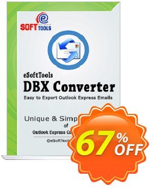 eSoftTools DBX Converter Coupon, discount Coupon code eSoftTools DBX Converter - Personal License. Promotion: eSoftTools DBX Converter - Personal License offer from eSoftTools Software