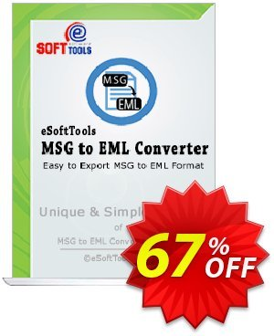 eSoftTools MSG to EML Converter Coupon, discount Coupon code eSoftTools MSG to EML Converter - Personal License. Promotion: eSoftTools MSG to EML Converter - Personal License offer from eSoftTools Software