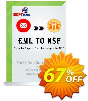eSoftTools EML to NSF Converter Coupon, discount Coupon code eSoftTools EML to NSF Converter - Personal License. Promotion: eSoftTools EML to NSF Converter - Personal License offer from eSoftTools Software