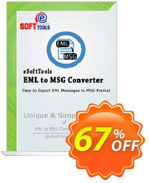 eSoftTools EML to MSG Converter - Corporate License Coupon, discount Coupon code eSoftTools EML to MSG Converter - Corporate License. Promotion: eSoftTools EML to MSG Converter - Corporate License offer from eSoftTools Software