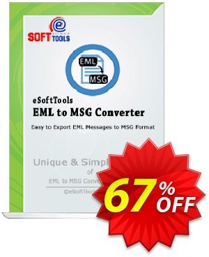 eSoftTools EML to MSG Converter - Technician License Coupon, discount Coupon code eSoftTools EML to MSG Converter - Technician License. Promotion: eSoftTools EML to MSG Converter - Technician License offer from eSoftTools Software