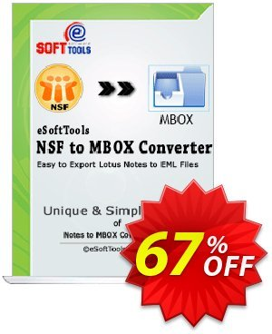 eSoftTools NSF to MBOX Converter - Enterprise License Coupon, discount Coupon code eSoftTools NSF to MBOX Converter - Enterprise License. Promotion: eSoftTools NSF to MBOX Converter - Enterprise License offer from eSoftTools Software