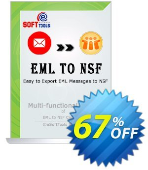 eSoftTools EML to NSF Converter - Technician License Coupon, discount Coupon code eSoftTools EML to NSF Converter - Technician License. Promotion: eSoftTools EML to NSF Converter - Technician License offer from eSoftTools Software