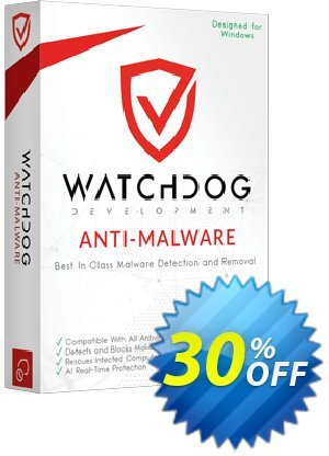 Watchdog Anti-Malware 1 year / 1 PC Coupon, discount 30% OFF Watchdog Anti-Malware 1 year / 1 PC, verified. Promotion: Awesome offer code of Watchdog Anti-Malware 1 year / 1 PC, tested & approved