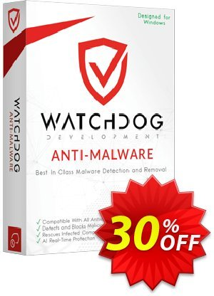Watchdog Anti-Malware 2 year / 3 PC Coupon, discount 30% OFF Watchdog Anti-Malware 3 year / 3 PC, verified. Promotion: Awesome offer code of Watchdog Anti-Malware 3 year / 3 PC, tested & approved