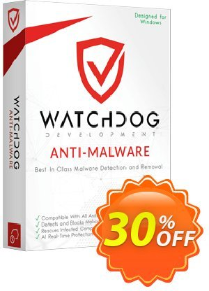 Watchdog Anti-Malware 1 year / 3 PC Coupon, discount 30% OFF Watchdog Anti-Malware 3 year / 3 PC, verified. Promotion: Awesome offer code of Watchdog Anti-Malware 3 year / 3 PC, tested & approved