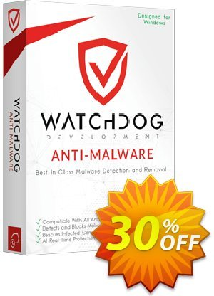 Watchdog Anti-Malware 1 year / 5 PC Coupon, discount 30% OFF Watchdog Anti-Malware 1 year / 5 PC, verified. Promotion: Awesome offer code of Watchdog Anti-Malware 1 year / 5 PC, tested & approved