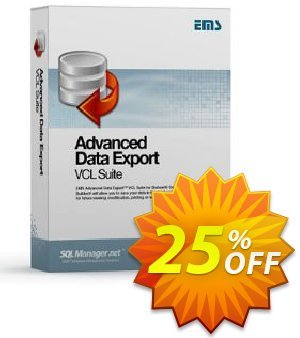 EMS Advanced Data Export VCL Suite (with sources) + 1 Year Maintenance Coupon, discount Coupon code Advanced Data Export VCL Suite (with sources) + 1 Year Maintenance. Promotion: Advanced Data Export VCL Suite (with sources) + 1 Year Maintenance Exclusive offer for iVoicesoft
