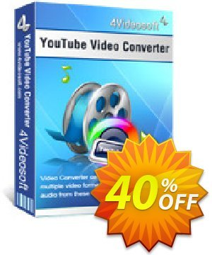 4Videosoft YouTube Video Converter Coupon, discount 4Videosoft YouTube Video Converter exclusive offer code 2019. Promotion: exclusive offer code of 4Videosoft YouTube Video Converter 2019