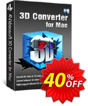 4Videosoft 3D Converter for Mac Coupon, discount 4Videosoft 3D Converter for Mac exclusive discount code 2020. Promotion:
