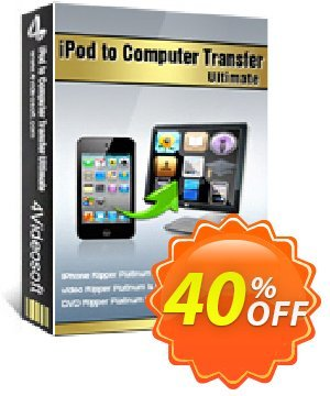4Videosoft iPod to Computer Transfer Ultimate Coupon, discount 4Videosoft iPod to Computer Transfer Ultimate super deals code 2020. Promotion: super deals code of 4Videosoft iPod to Computer Transfer Ultimate 2020