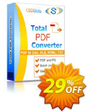 Coolutils Total PDF Converter (Commercial License) Coupon, discount 30% OFF JoyceSoft. Promotion: