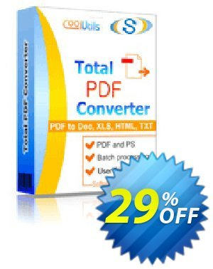 Coolutils Total PDF Converter (Commercial License) discount coupon 30% OFF JoyceSoft -