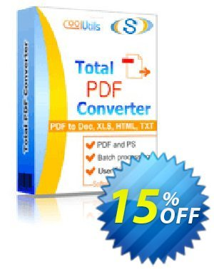 Coolutils Total PDF Converter (Site License) 優惠券,折扣碼 15% OFF Coolutils Total PDF Converter (Site License), verified,促銷代碼: Dreaded discounts code of Coolutils Total PDF Converter (Site License), tested & approved