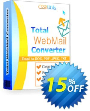 Coolutils Total Webmail Converter Coupon, discount 15% OFF Coolutils Total Webmail Converter, verified. Promotion: Dreaded discounts code of Coolutils Total Webmail Converter, tested & approved