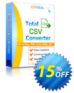 Coolutils Total CSV Converter 프로모션 코드 15% OFF Coolutils Total CSV Converter, verified 프로모션: Dreaded discounts code of Coolutils Total CSV Converter, tested & approved