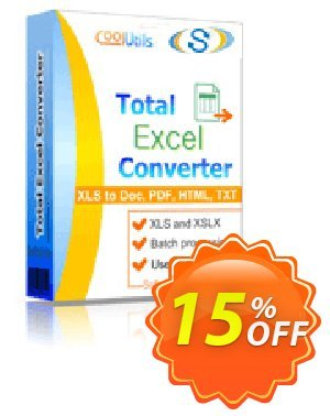 Coolutils Total Excel Converter (Server License) Coupon, discount 15% OFF Coolutils Total Excel Converter (Server License), verified. Promotion: Dreaded discounts code of Coolutils Total Excel Converter (Server License), tested & approved
