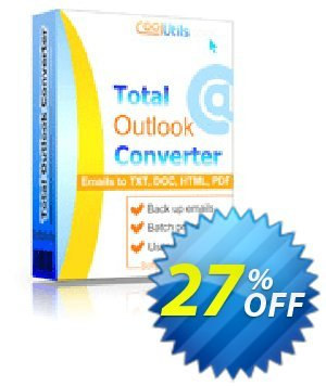 Coolutils Total Outlook Converter (Commercial License) Coupon, discount 27% OFF Coolutils Total Outlook Converter (Commercial License), verified. Promotion: Dreaded discounts code of Coolutils Total Outlook Converter (Commercial License), tested & approved