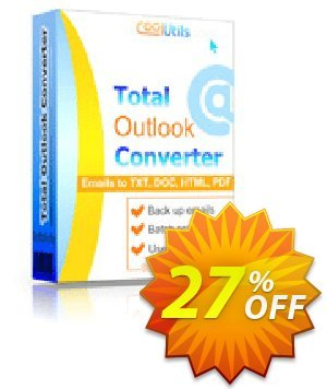 Coolutils Total Outlook Converter (Site License) Coupon, discount 27% OFF Coolutils Total Outlook Converter (Site License), verified. Promotion: Dreaded discounts code of Coolutils Total Outlook Converter (Site License), tested & approved