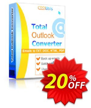 Coolutils Total Outlook Converter Pro (Commercial License) Coupon, discount 20% OFF Coolutils Total Outlook Converter Pro (Commercial License), verified. Promotion: Dreaded discounts code of Coolutils Total Outlook Converter Pro (Commercial License), tested & approved