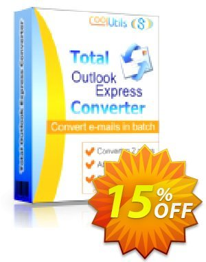 Coolutils Total Outlook Express Converter (Server License) Coupon, discount 15% OFF Coolutils Total Outlook Express Converter (Server License), verified. Promotion: Dreaded discounts code of Coolutils Total Outlook Express Converter (Server License), tested & approved