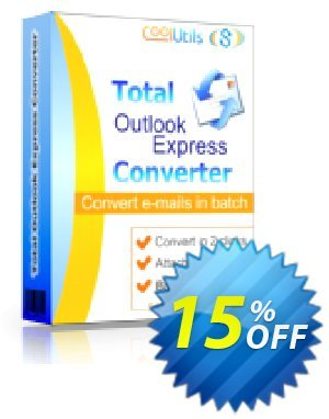 Coolutils Total Outlook Express Converter (Commercial License) Coupon discount 15% OFF Coolutils Total Outlook Express Converter (Commercial License), verified. Promotion: Dreaded discounts code of Coolutils Total Outlook Express Converter (Commercial License), tested & approved