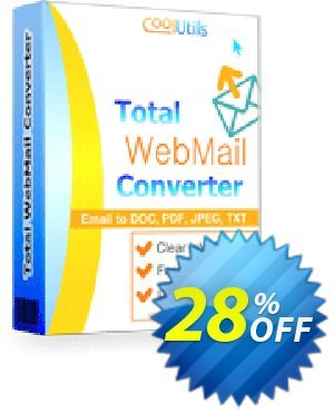 Coolutils Total Webmail Converter (Commercial License) Coupon, discount 27% OFF Coolutils Total Webmail Converter (Commercial License), verified. Promotion: Dreaded discounts code of Coolutils Total Webmail Converter (Commercial License), tested & approved