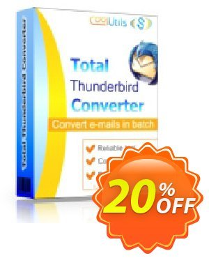 Coolutils Total Thunderbird Converter Pro (Commercial License) Coupon, discount 20% OFF Coolutils Total Thunderbird Converter Pro (Commercial License), verified. Promotion: Dreaded discounts code of Coolutils Total Thunderbird Converter Pro (Commercial License), tested & approved