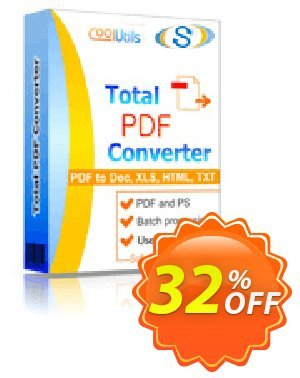 Coolutils Total PDF Converter Coupon, discount 30% OFF JoyceSoft. Promotion: