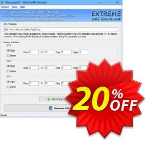 Extreme URL Generator Coupon, discount 20% OFF Extreme URL Generator, verified. Promotion: Imposing discount code of Extreme URL Generator, tested & approved
