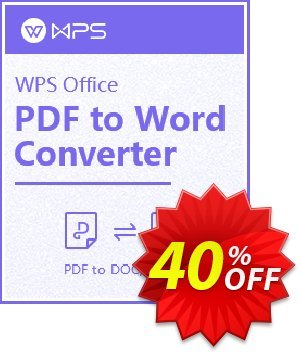 WPS PDF to Word Converter Coupon discount WPS PDF to Word discount. Promotion: WPS PDF to Word OFF