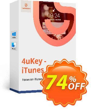 Get Tenorshare 4uKey iTunes Backup 74% OFF coupon code