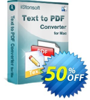 iStonsoft Text to PDF Converter for Mac Coupon, discount 60% off. Promotion: