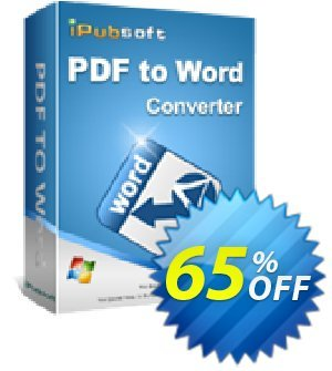 iPubsoft PDF to Word Converter Coupon discount 65% disocunt. Promotion: