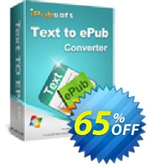 iPubsoft Text to ePub Converter Coupon discount 65% disocunt. Promotion: