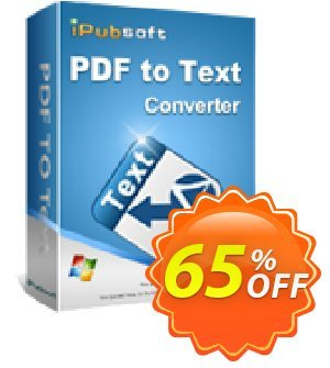 iPubsoft PDF to Text Converter Coupon, discount 65% disocunt. Promotion: