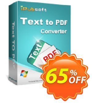 iPubsoft Text to PDF Converter Coupon discount 65% disocunt -