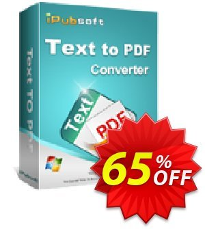 iPubsoft Text to PDF Converter Coupon, discount 65% disocunt. Promotion: