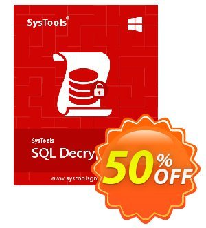 SysTools SQL Decryptor (Business) 프로모션 코드 SysTools coupon 36906 프로모션: