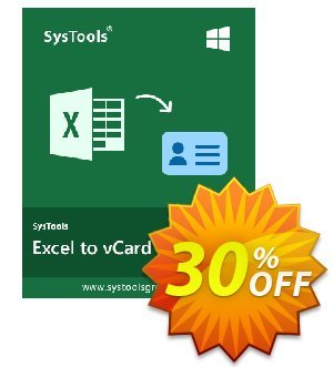 SysTools Excel to vCard Converter Coupon discount SysTools Summer Sale. Promotion:
