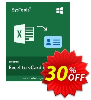 SysTools Excel to vCard (Business License) discount coupon SysTools coupon 36906 -